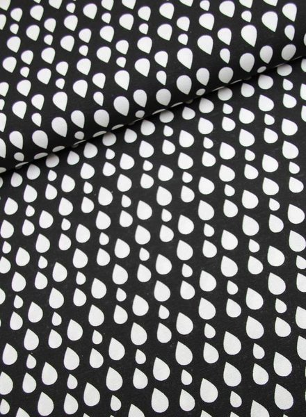 deco fabric- drops black
