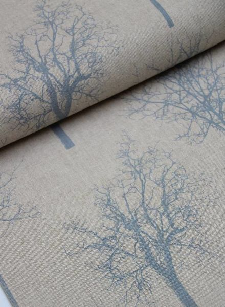 deco fabric - blue trees