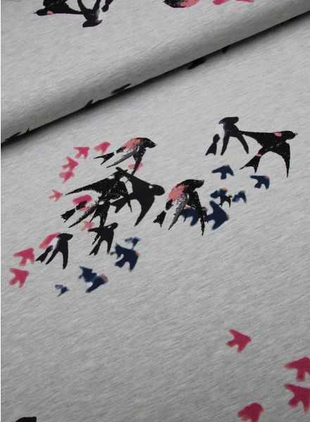 french terry - painted swallows