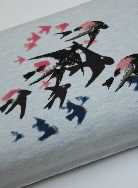 french terry - painted swallows  blue