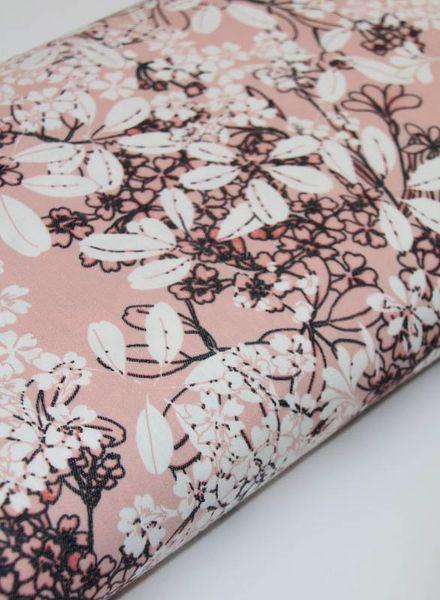 stretch katoen - pink flower