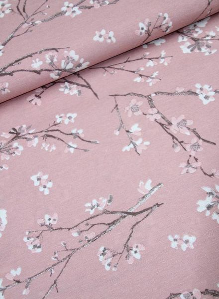 woven fabric - spring flowers dusty pink