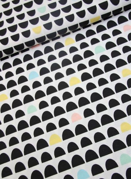 deco fabric - black and pastel