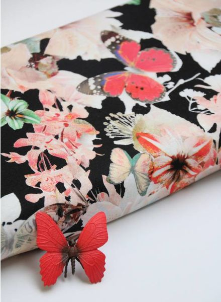 viscose tricot - butterflies and flowers