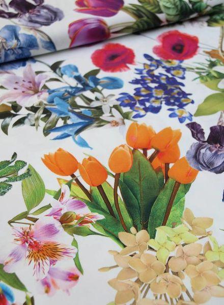 stretch katoen - kleurrijke bloemen
