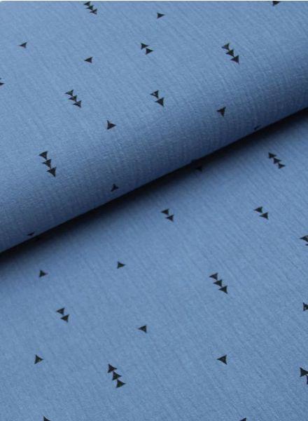 jeansblauwe driehoekjes tetra - double gauze