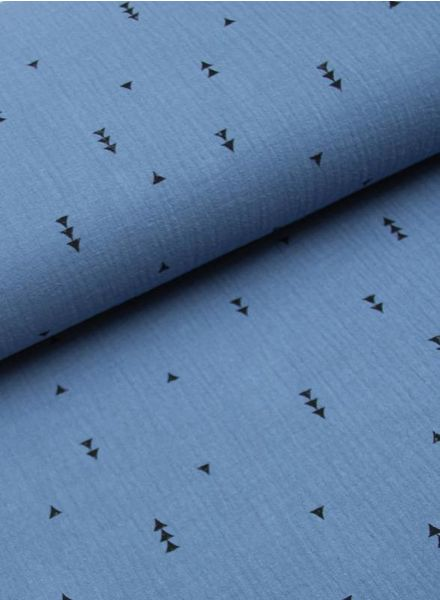 tetra fabric - triangles denim blue