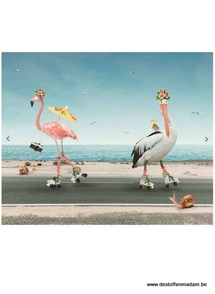 flamingoand stork panel