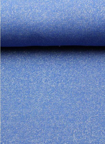 Polytex Stoffen glitter sweater kobaltblauw