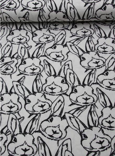 rabbits black and white tricot