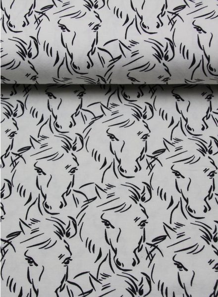 horses black and white tricot