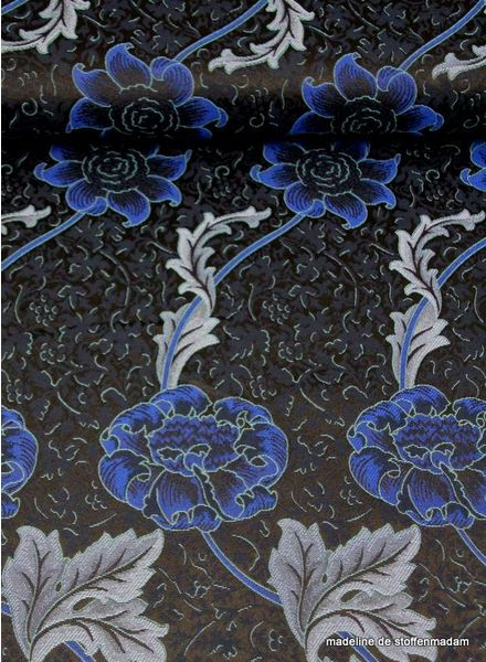 blue flower jacquard