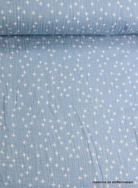 kruisjes lichtblauw tetra –  double gauze