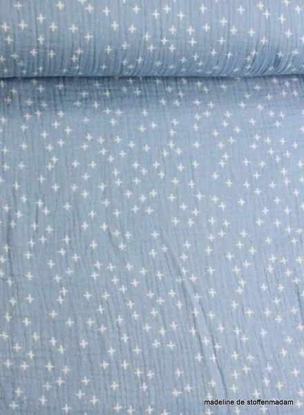 light blue crosses tetra fabric – hydrophilic fabric – double gauze