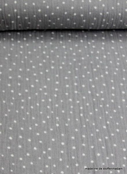 grey dots tetra fabric – double gauze