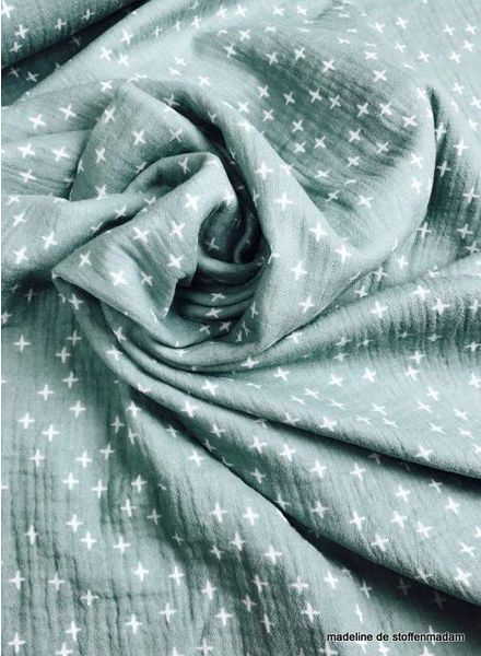 mint crosses tetra fabric – double gauze