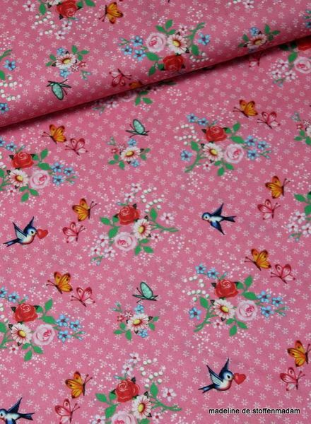 pink swallows cotton fabric