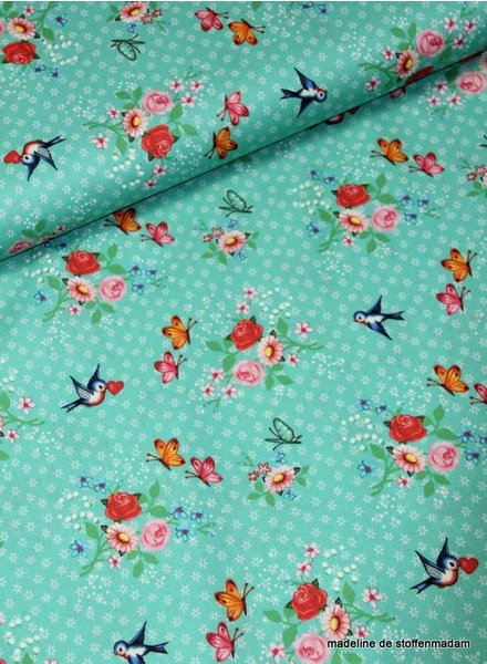 mint swallows cotton fabric