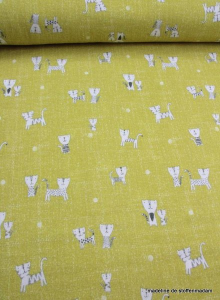 tetra fabric – ocre cats