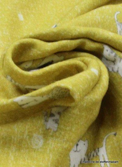 tetra fabric – ocre cats
