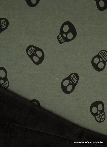 skull khaki happy fleece
