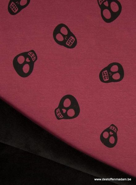 skull bordeaux happy fleece