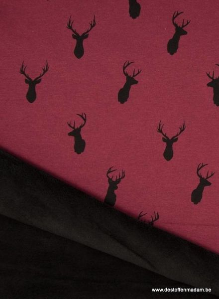 deer bordeaux happy fleece
