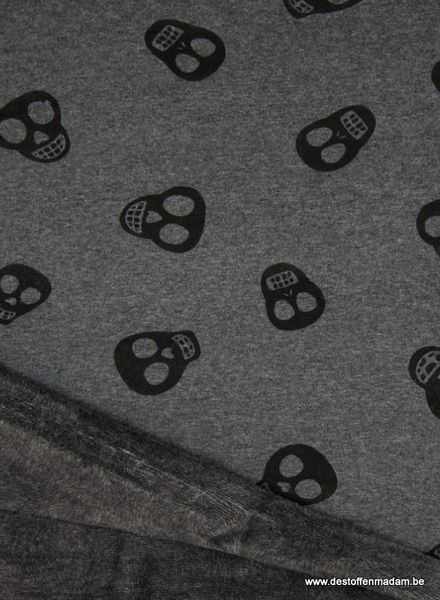 skull darkgrey happy fleece
