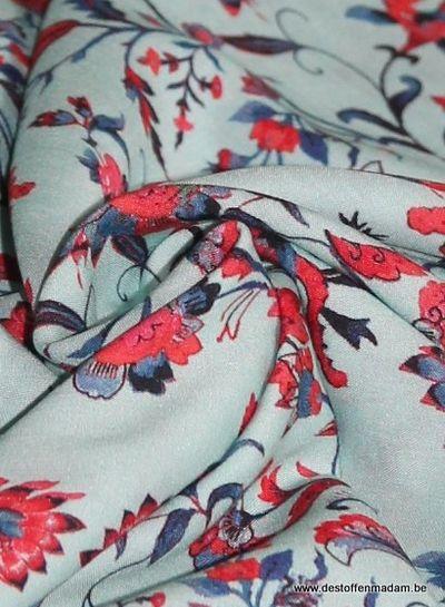 soft flowers turquoise viscose