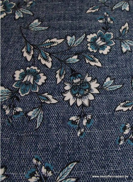 denim flowers viscose
