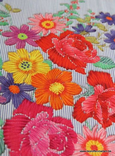 stripes and flowers viscose