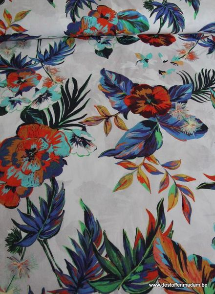 flowers stretch cotton
