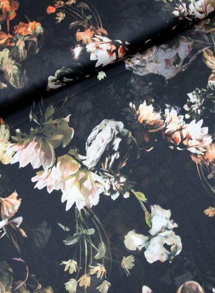 LMV black flowers -  satin