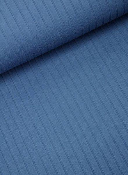 kobaltblauw geribbelde tricot