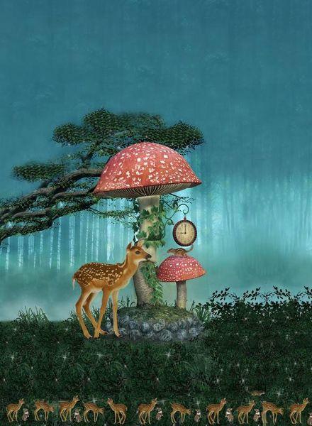 deer and mushroom panel - tricot