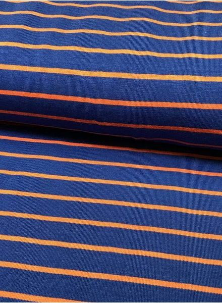F&D - stripes sienna blue bamboo
