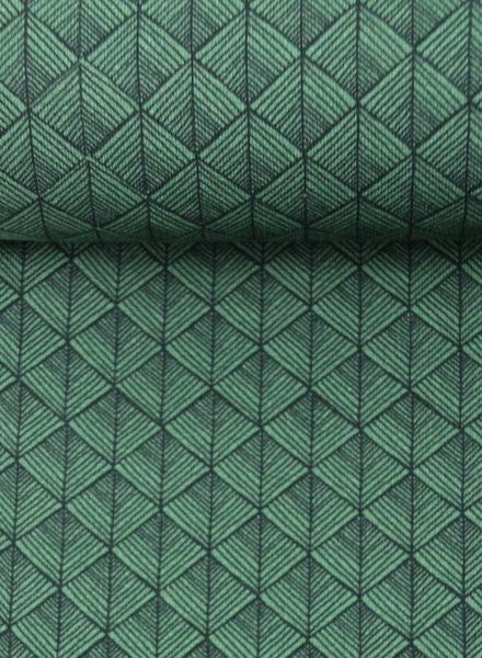 autumn geo green –   french terry
