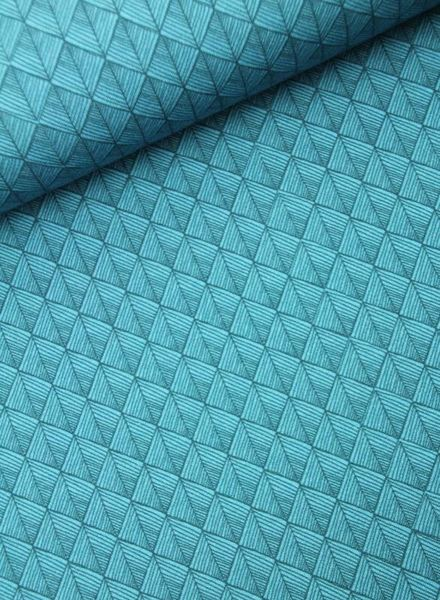 autumn geo turquoise –  french terry