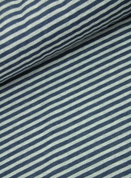 marineblauw gestreept double face - gebreide interlock