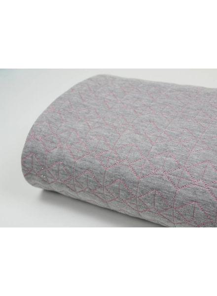 grijs roze lurex - quilted sweater