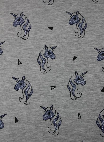 grey unicorn glitter - jersey