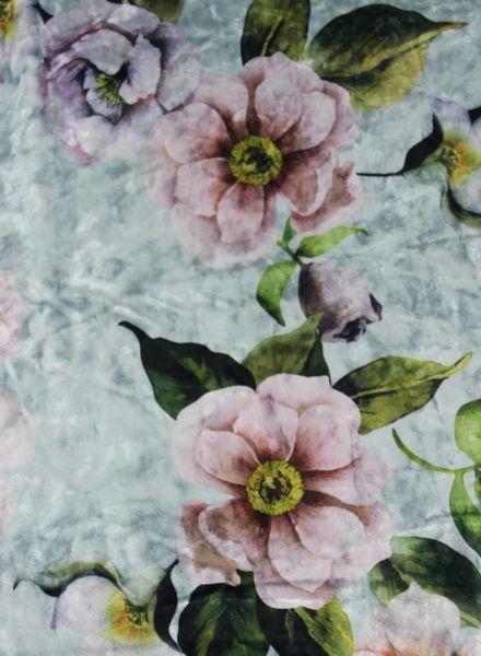 mint big flower -  velvet