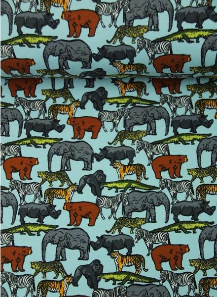 safari animals blue – french terry