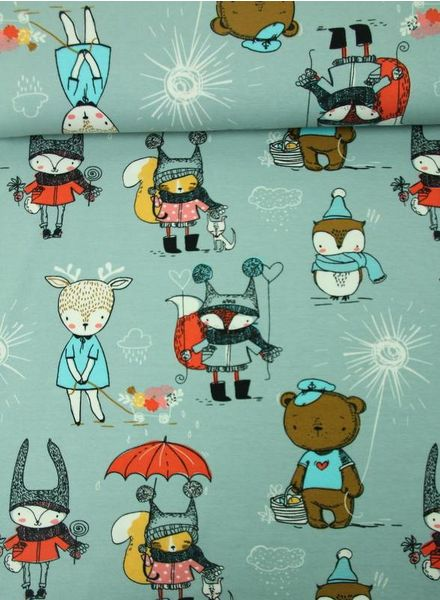 dusty mint –  funny animals jersey