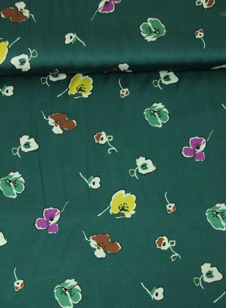flowers in green -  satin viscose