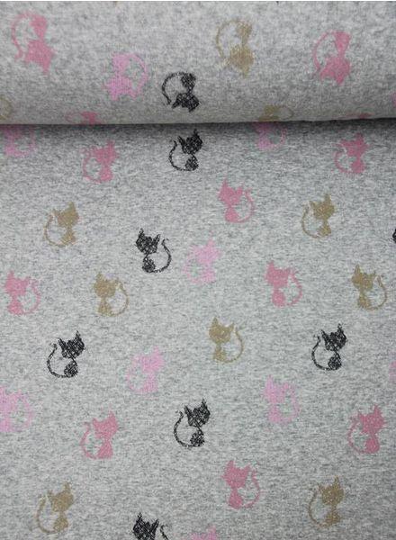 cats grey - happy fleece