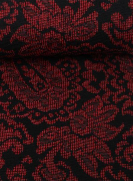 red and black - woven jacquard