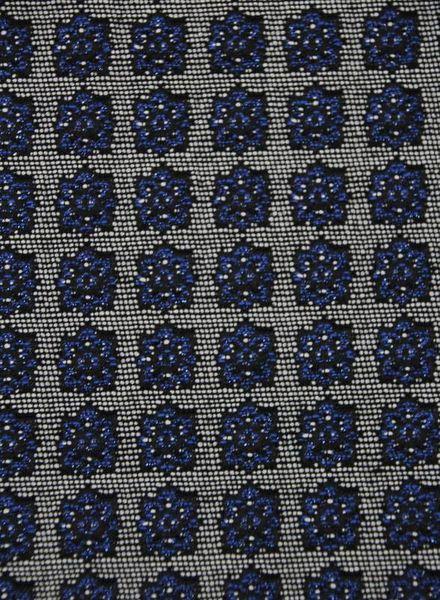 blue lurex flowers - geweven jacquard