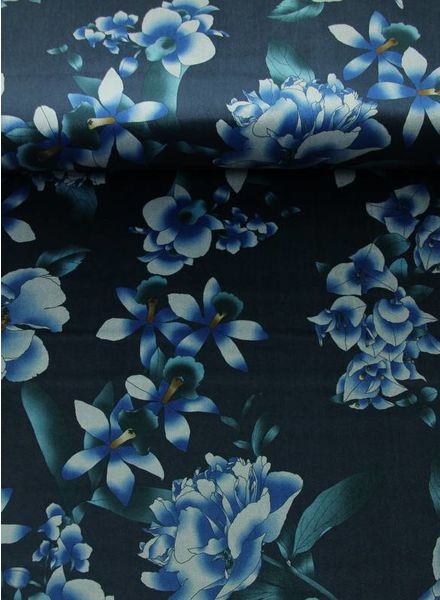 blue flower with green leaves - velvet