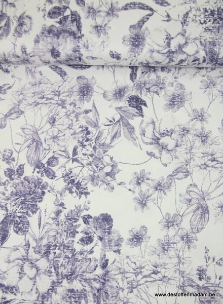 Soft blue flowered - stretch katoen